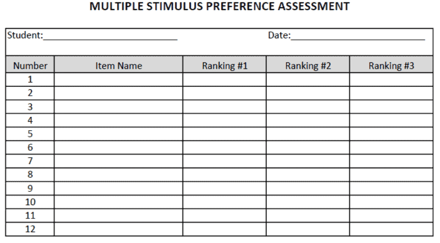 Example of data sheet for multiple stimulus preference assessment. Click above to download our free copy of this data sheet.