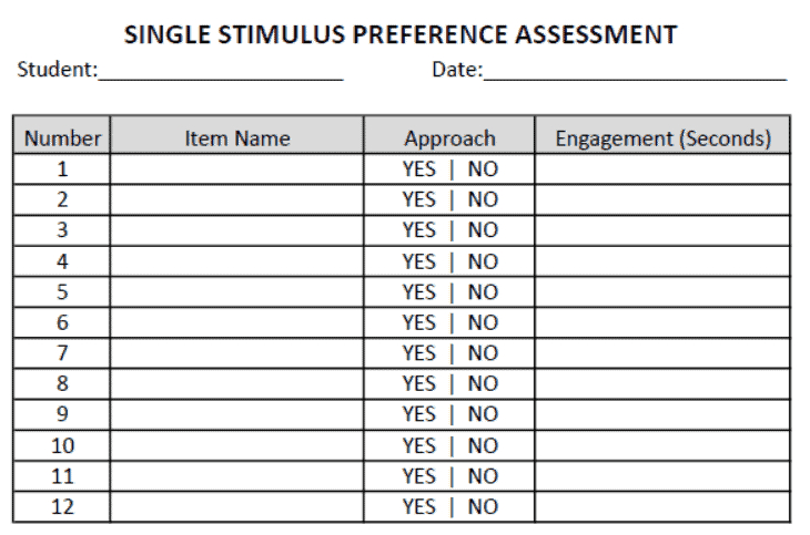 Example of data sheet for single stimulus preference assessment. Click above to download our free copy of this data sheet.