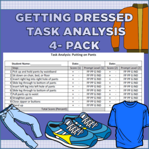 Getting Dressed Task Analysis (Jacket, Pants, Shirt, Shoes)