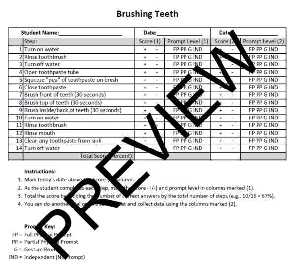 Brushing Teeth Task Analysis ABA Data Sheet Preview