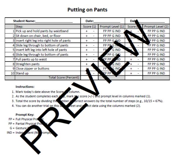 Putting on Pants Task Analysis Preview