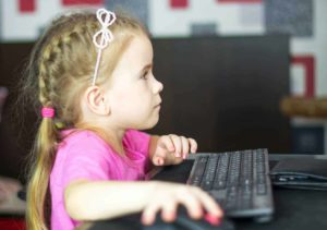 Child on Computer in Special Education